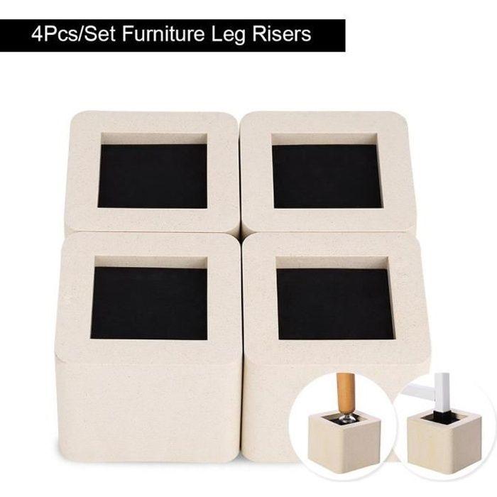 4pcs Rehausseur Pieds de lit Réhausseur de meuble Lit Table Set Rehausseur meuble ELEVATEUR en porcelaine artificielle