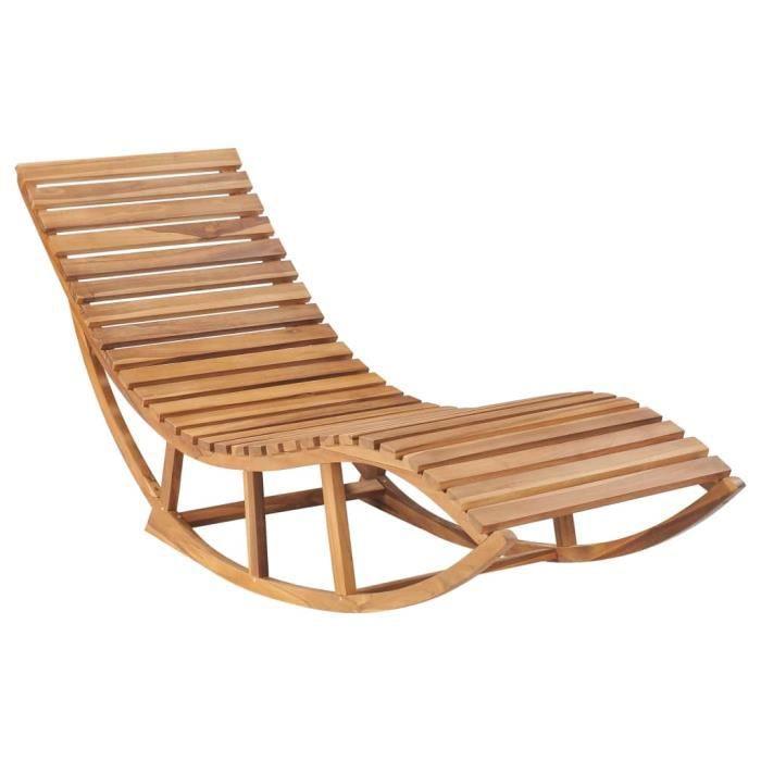 Chaise longue de jardin à bascule Bois de teck solide - Bains de soleil, Fauteuil de Jardin, Transat jardin
