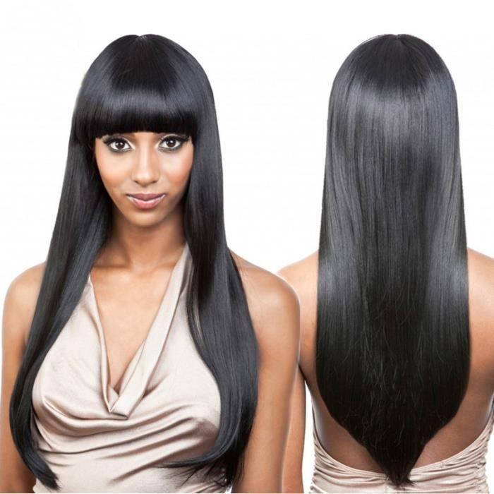 16pouce full lace longue droite perruques de cheveux humains avec frange malaisienne Remy cheveux humains dentelle