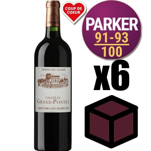 X6 Château Grand Pontet 2014 Rouge 75 cl AOC Saint-Émilion Grand Cru Vin Rouge