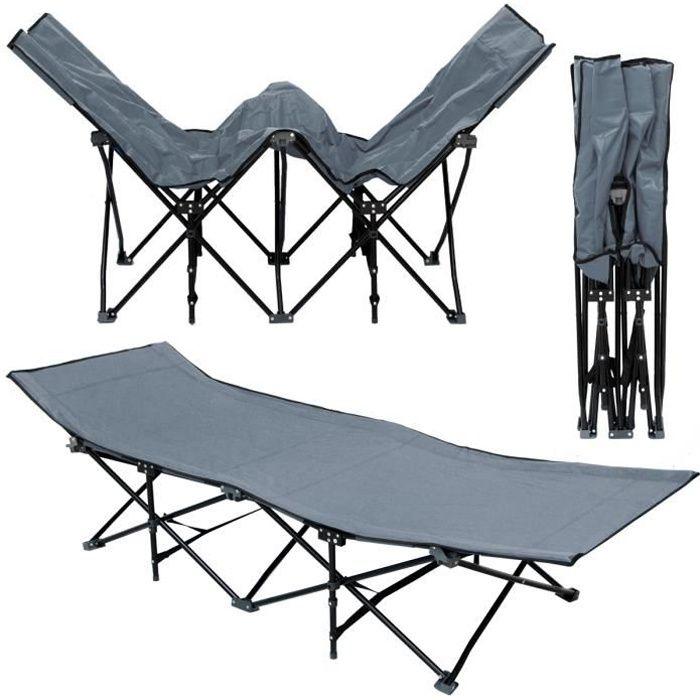 Lit de camp pliable de AMANKA - portable avec sac incl - idéal pour faire du camping voyager se bronzer - structure en acier 190x...