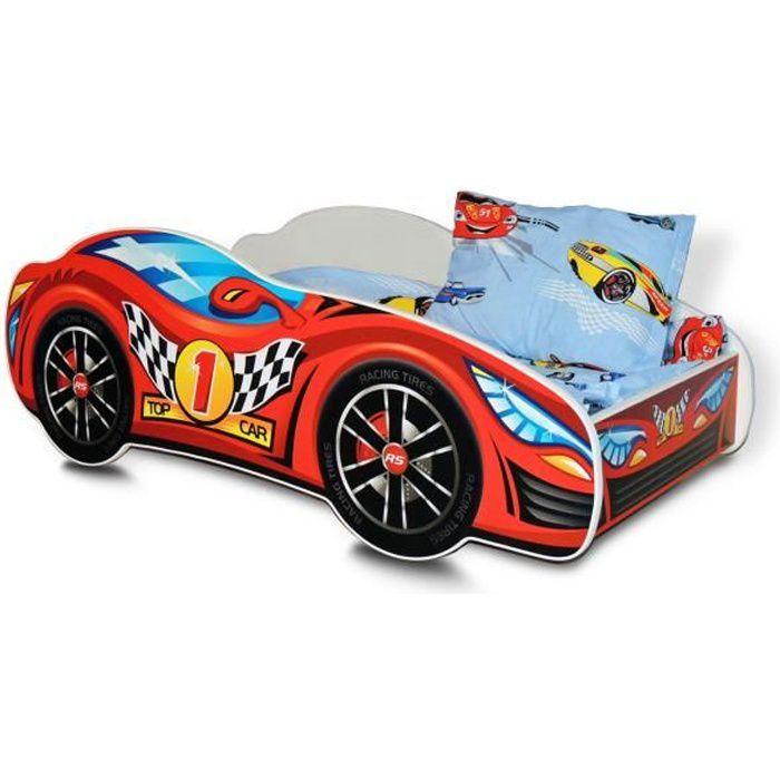 BB Lit enfant en bois voiture car avec Matelas Sommier à lattes Coussin 140 x 70 cm Modèle: 02 rouge