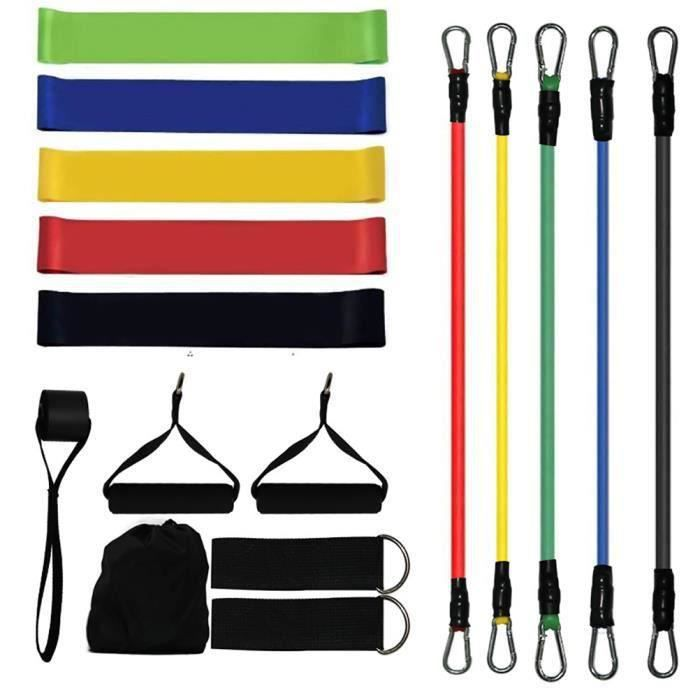 Kit de 17pcs Bandes de Résistance Élastique Accessoires Fitness Elastique musculation