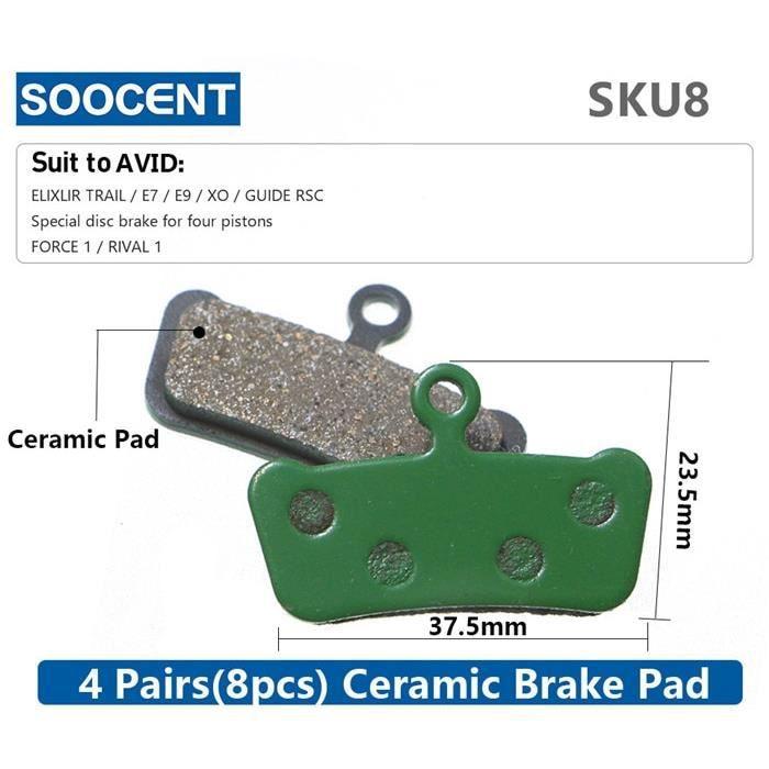 Pièce Détachée,4 paires (8 pièces) vtt vélo hydraulique disque céramique plaquettes de frein pour SHIMANO SRAM AVID HAYES - Type 8