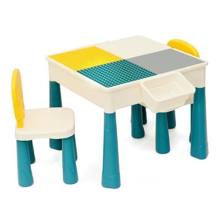 Ensemble Table Enfant et 2 Chaise Pour LEGO avec 2 Boîtes de Rangement Table de jeu 5 en 1 Wir99