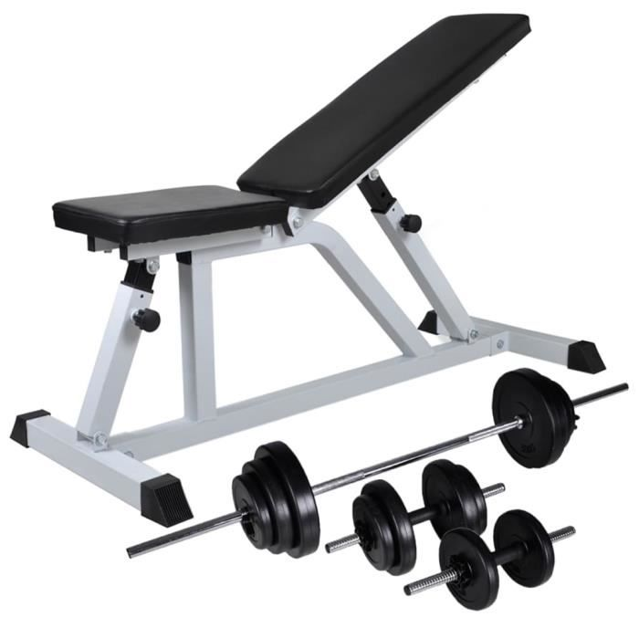 WONGSHOP®Banc d'entraînement avec jeu d'haltères 30,5 kg
