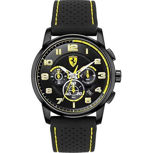 FERRARI 0830061 Black Heritage cadran noir Bracelet en silicone Montre chronographe ASJE3