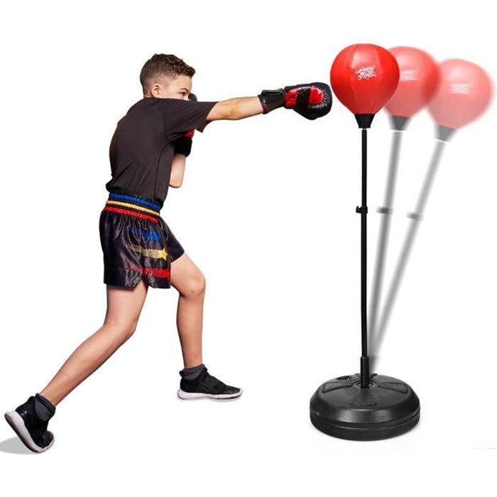 GIANTEX Punching-Ball sur Pied Réglable en Hauteur avec Base Grande, Gants et Pompe pour Adultes et Adolescents , 44X44X122-154CM