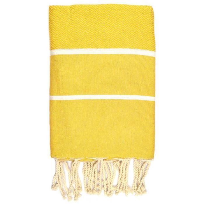 Fouta 100 cm x 200 cm Chevron jaune rayures blanches - 100% coton - finition franges