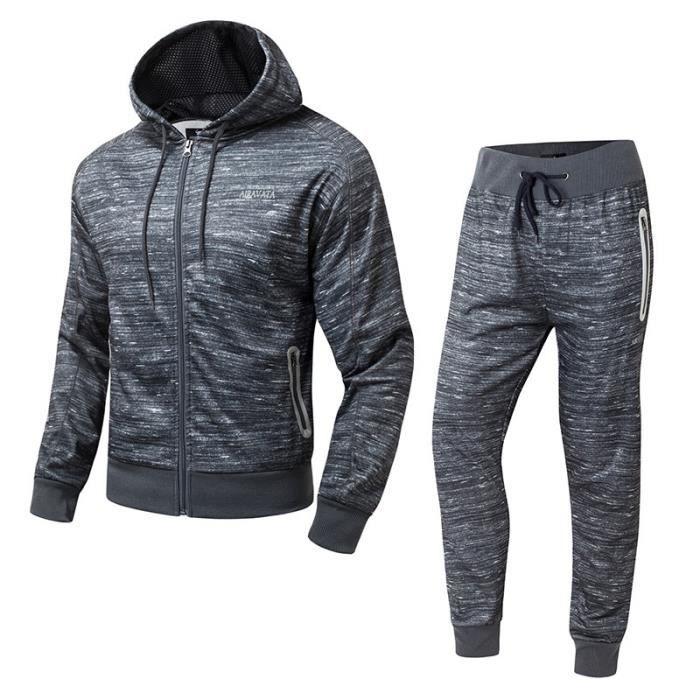 Gris-Fonce Survêtement Homme 2 Pièces Ensemble Jogging Sport Grande Taille Manches Longues Hooded Zipper Veste +Pantalon Longue