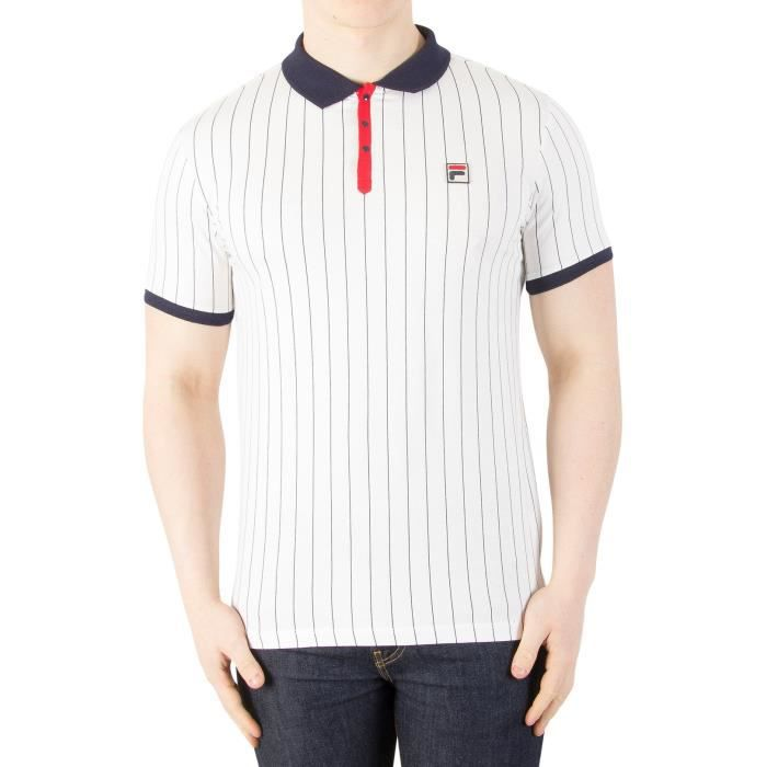 Fila Vintage Homme BB1 Vintage Polo à rayures, Blanc
