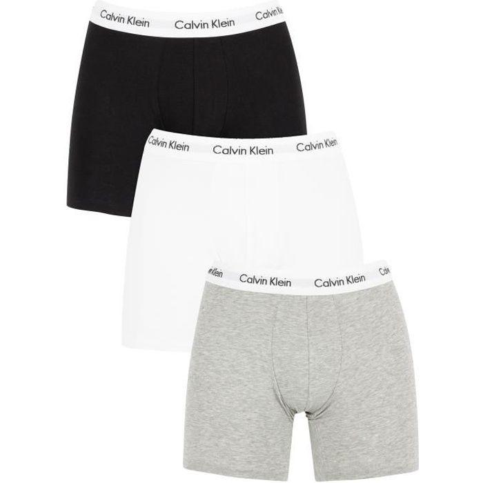 Calvin Klein Homme Lot de 3 boxers en coton extensible, Blanc