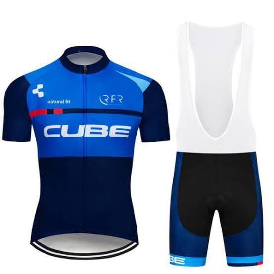 Maillot de Sport CUBE Cyclisme Manches Courte Homme + Cuissard à Bretelle GEL Combinaison de VTT Ensemble de Vêtement