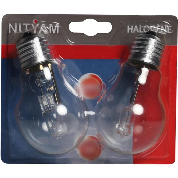 Pack de 2 ampoules éco halogènes E27 105W NITYAM