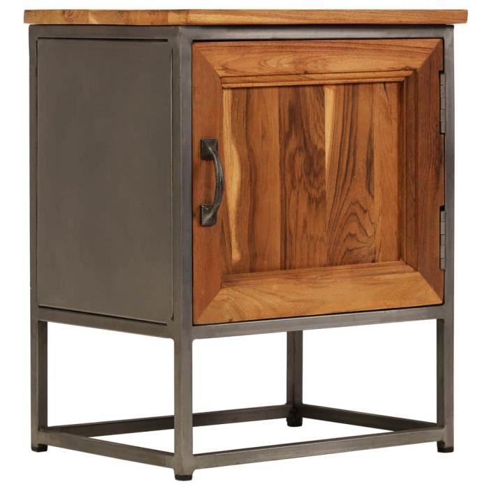 Table de chevet Table de nuit Armoire Haut qualité Teck recyclé et acier 40 x 30 x 50 cm