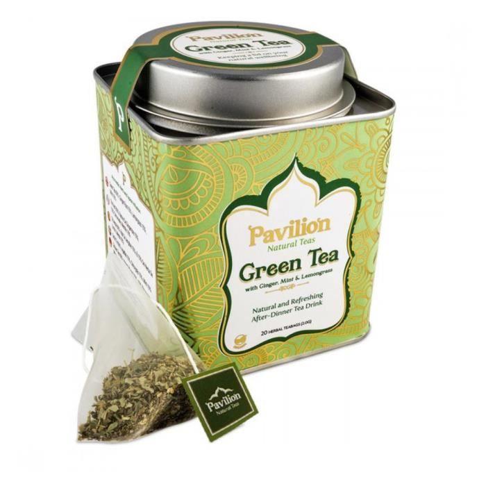 Thé vert bio au gingembre, menthe et citronnelle