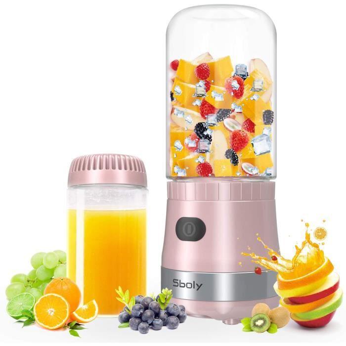 Mini Blender Smoothie Portable Rechargeable 450ml Mixeur pour bureau, voyages, maison - Rose