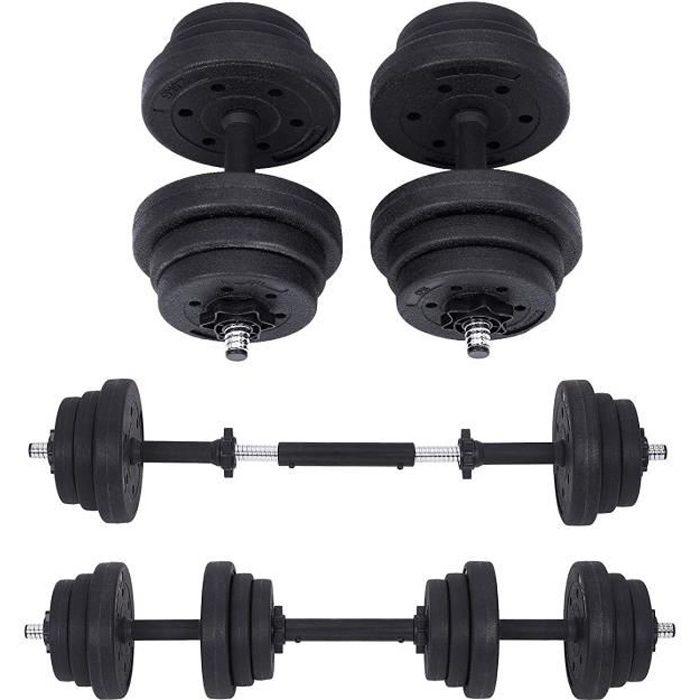 Lot 2 Haltères Musculation Poids Ajustable 10 kg, 20 kg, avec Barre d'Extension supplémentaire 12 disques SYL20HBK SONGMICS