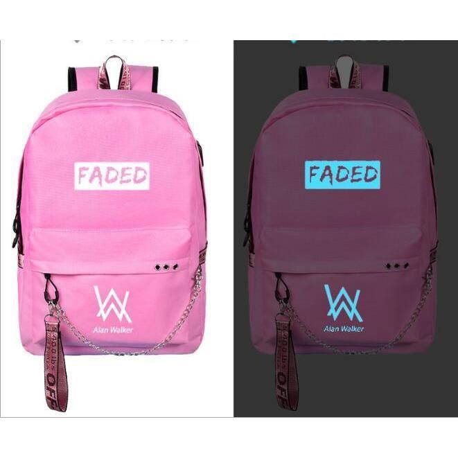 Alan Walker(Faded) -Sac à dos Noctilucent Fluorescence -cadeau Noël anniversaire pour fils et fille,sac d'école-cartable Rose