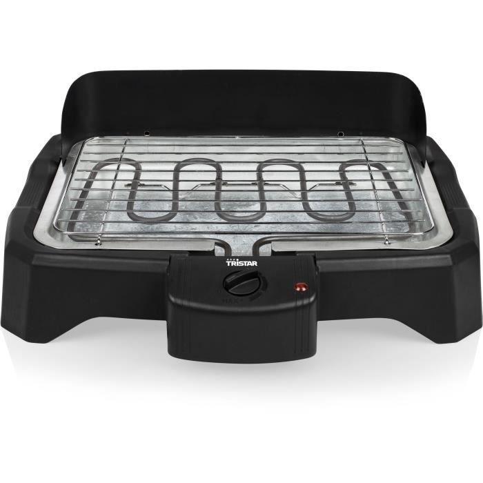 Tristar Barbecue électrique de table 2000 W 34,5x23 cm Noir