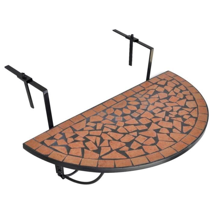 Table de balcon suspendue Demi-circulaire Terre cuite-XID