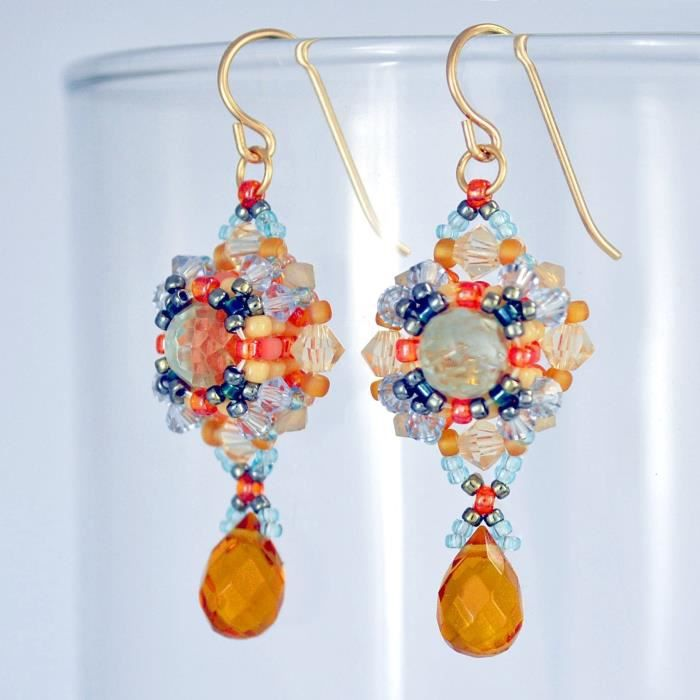 Womens Vintage Style Earrings In 14k Gold Filled Artisan Handcrafted With Swarovski Crystals WO3L0