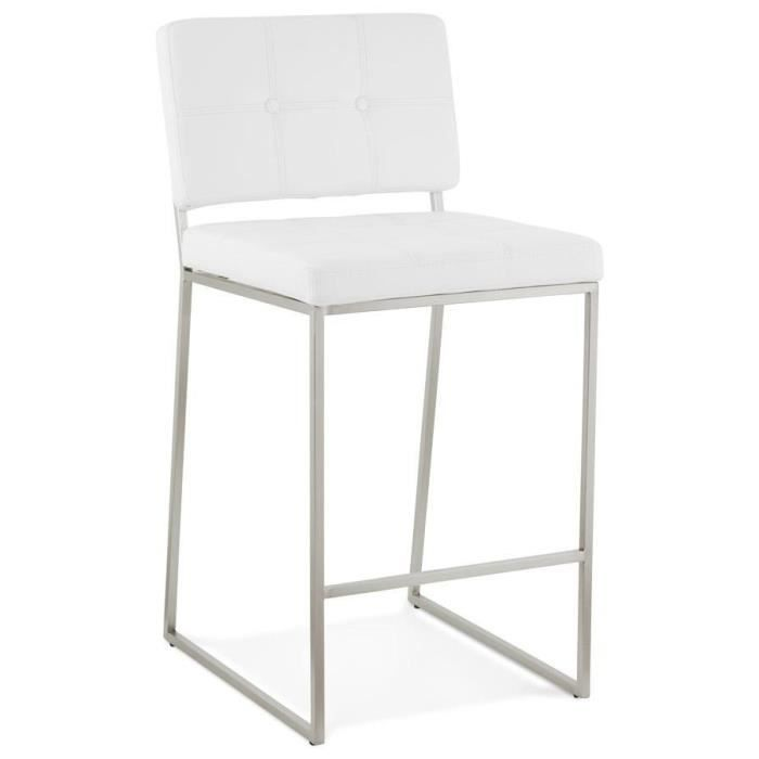 tabouret snack mi hauteur 39 gaston 39 blanc capitonn achat. Black Bedroom Furniture Sets. Home Design Ideas