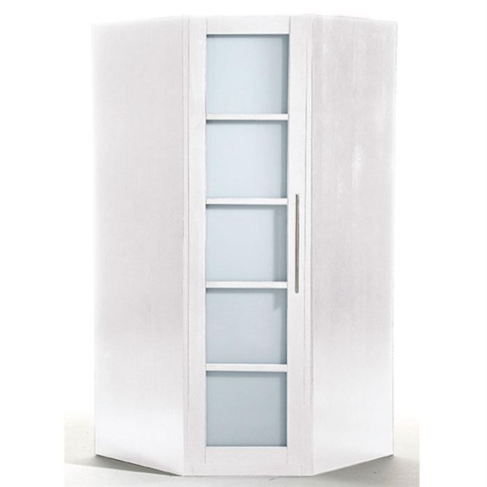 armoire d 39 angle ontario lasur blanc achat vente. Black Bedroom Furniture Sets. Home Design Ideas