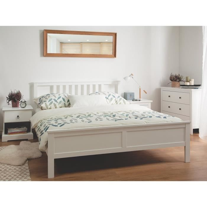 lit double blanc en bois de pin 160 x 200 cm rosselange achat vente lit complet lit double. Black Bedroom Furniture Sets. Home Design Ideas