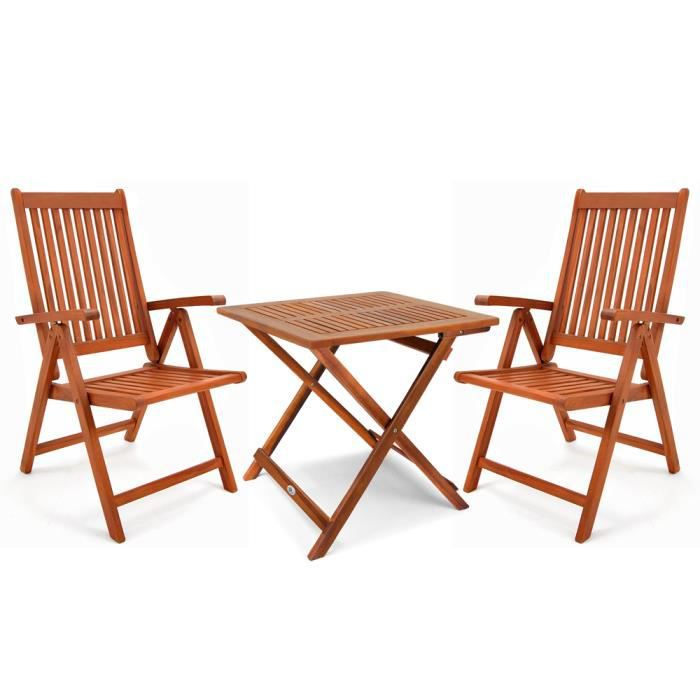 Salon de jardin bois dur 2 chaises 1 table pliable ensemble de meuble  balcon Moreno bistro terrasse jardin camping