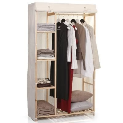 armoire rangement en bois toile textile achat vente. Black Bedroom Furniture Sets. Home Design Ideas