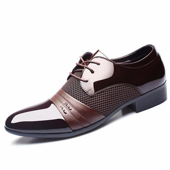 homme lacet d contract chaussure bureau oxford sneakers cuir mariage mocassins brun achat. Black Bedroom Furniture Sets. Home Design Ideas
