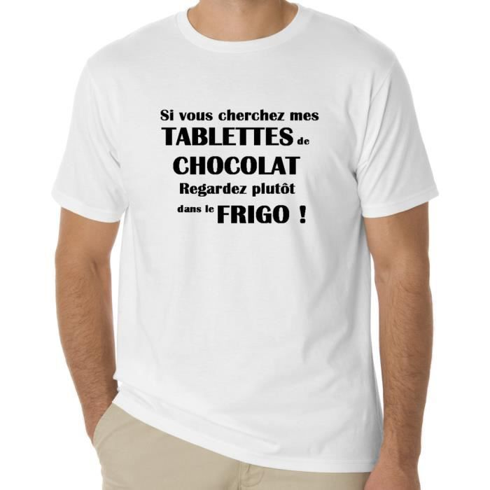 t shirt humour tablettes de chocolat pour homm blanc achat vente t shirt cdiscount. Black Bedroom Furniture Sets. Home Design Ideas