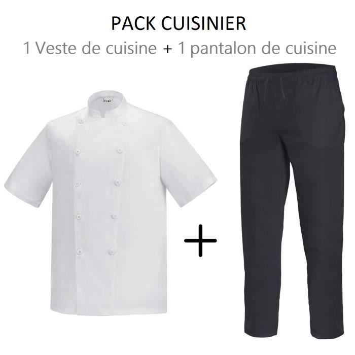 Veste De Cuisine Blanche Pantalon De Cuisine Noir Blanc Achat