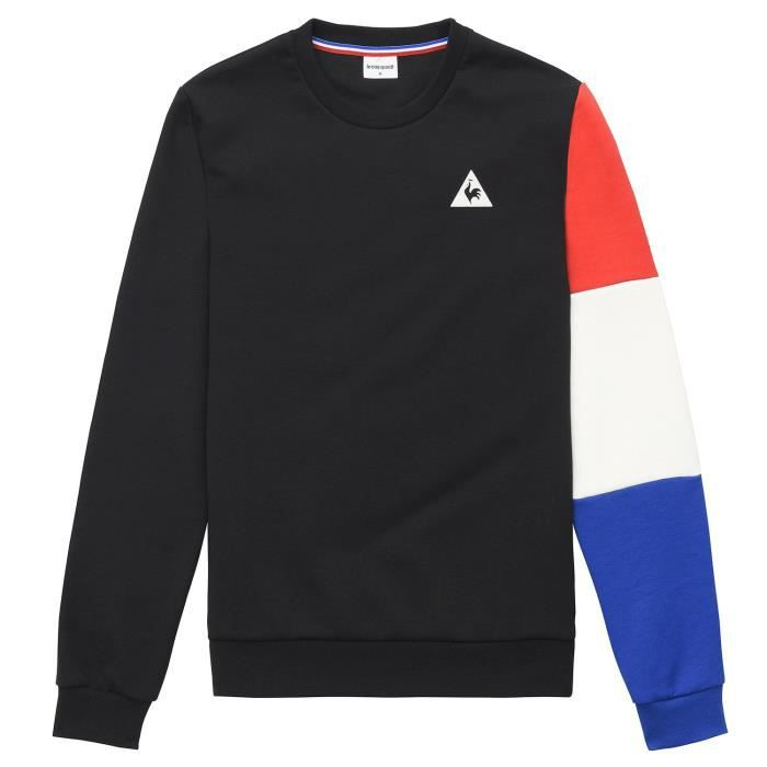 le coq sportif sweat tricolore noir sweat homme multisports noir noir achat vente sweatshirt. Black Bedroom Furniture Sets. Home Design Ideas