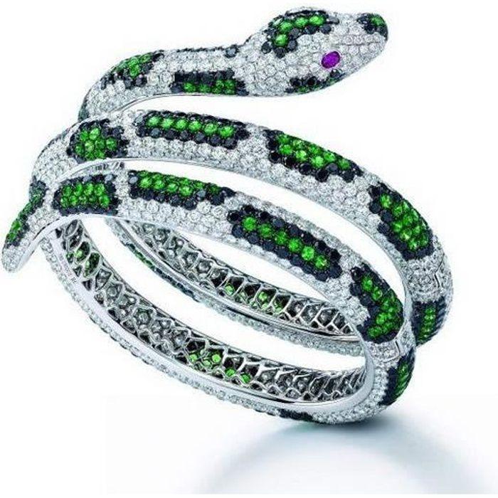 Charme Femmes Diamant Bague Serpent 925 En Argent