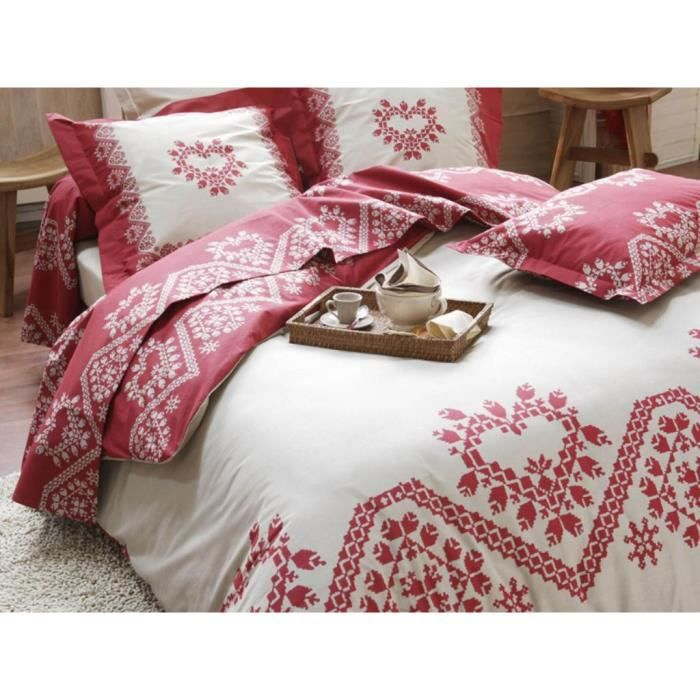 parure housse de couette 2 personnes alpage rouge achat. Black Bedroom Furniture Sets. Home Design Ideas
