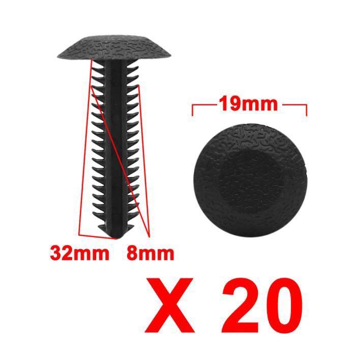 Sourcingmap/® 100/pcs 10/mm Plastique Trou Bumper Clips Panneau Garniture Fermeture Clip Noir