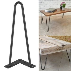 PIED DE MEUBLE 4Pcs Pieds de table en fer noir Accessoires de mai