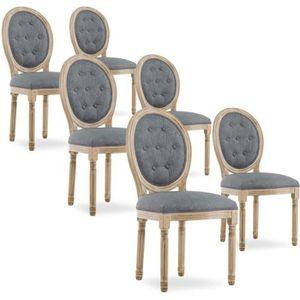 CHAISE Lot de 6 chaises médaillon capitonnées Louis XVI t