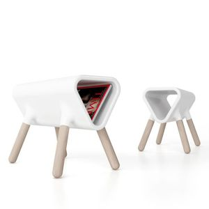 TABLE D'APPOINT Guéridon design Didier STAMP EDITION - Blanc