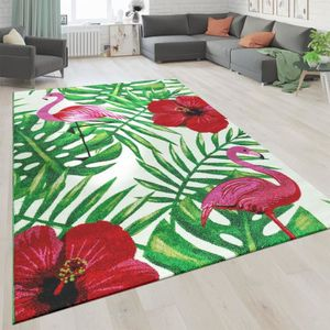 tapis-vegetation-flamant-rose-blanc-roug