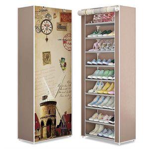 Blanc métal 3 niveaux Rangement de Chaussures Rack Étagère Shabby Chic Organisateur Home Decor