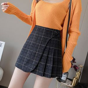 JUPE Mode Femme Automne Hiver Woollen Plaid haute taill