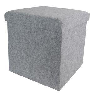 COFFRE - MALLE Coffre banc pliable en feutrine coloris gris - Dim