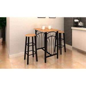 TABLE DE CUISINE  Lot avec une table haute de bar et 2 tabourets ''p