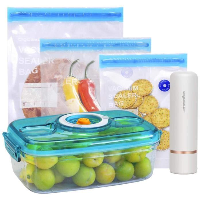 Aigostar Fresh - Pack mise sous vide: mini pompe scelleuse sans fil, sacs sous vide et récipient à vide. Charge USB.