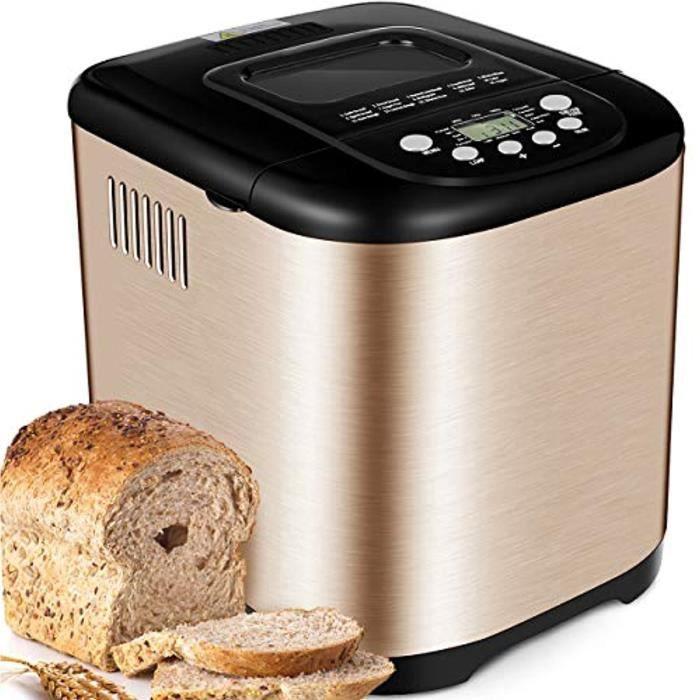 Yabano Acier Inox Machine à pain, 15 en 1 Automatiques Machines à Pain avec Pot en Céramique Antiadhésif, Machines Pain 1kg Capacité