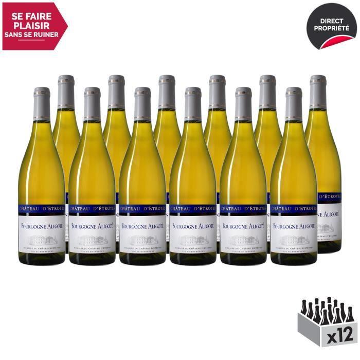 Bourgogne Aligoté Blanc 2017 - Lot de 12x75cl - Château d'Etroyes - Vin AOC Blanc de Bourgogne - Cépage Aligoté