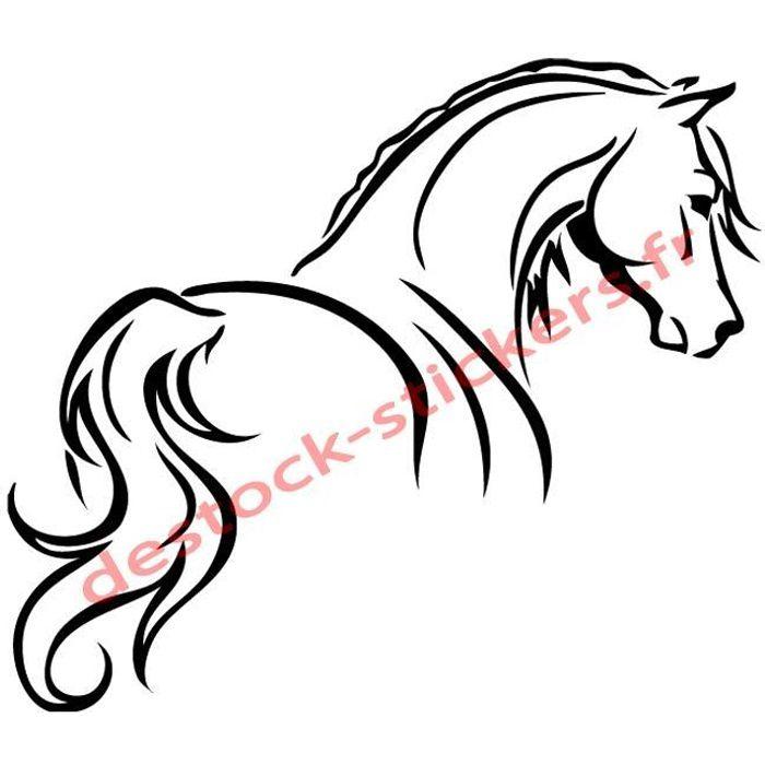 Stickers autocollant cheval esquisse Mur van camion sports équestres équitation